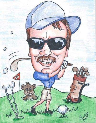 Caricature Drawing of Golfer, Ontario, Canada