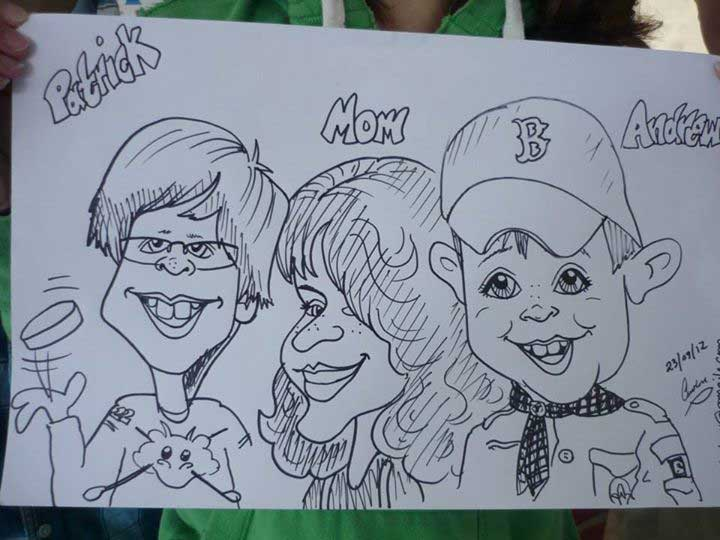 Caricature of Patrick, Mom and Andrew, Community event, Ontario, Canada