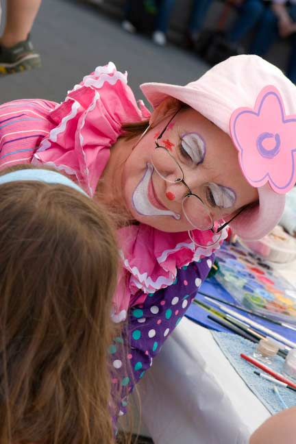Sookie the Clown is focused on pleasing with face paints, Fun Events, Toronto