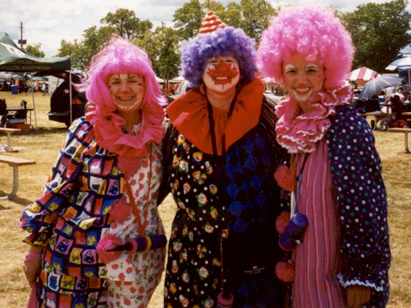 Three Clowns Posing on Canada Day, Fun Events, Toronto Entertainment Company