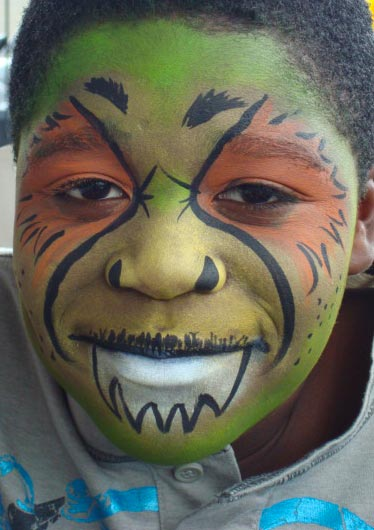 Green Monster Face Painting Community kid\'s Entertainment