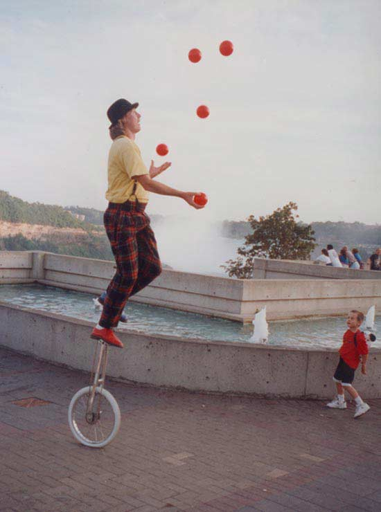 Multi-talented Juggler and Unicyclist Entertaining in Ontario, Canada